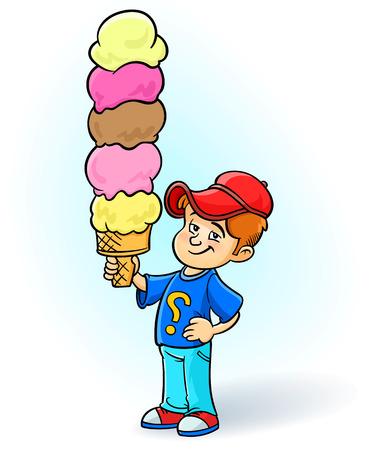 Happy little boy eating a big ice cream