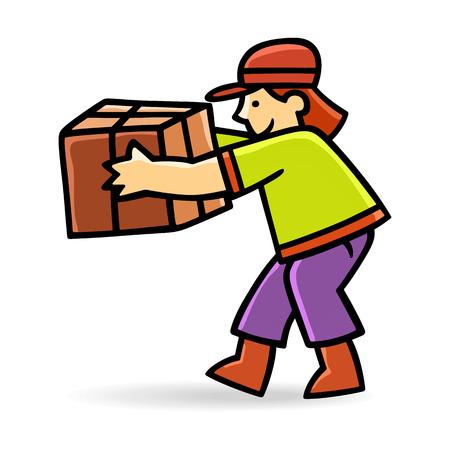 carrying box: Hombre de salida joven con una caja Vectores