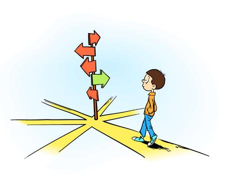 devanear: escolher caminho certo ou errado um jovem homem tomada de decisão para o futuro Ilustração