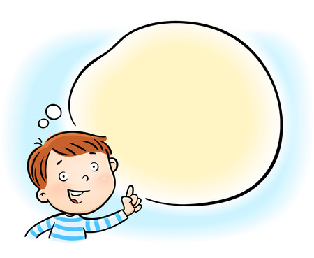 cheerful little boy pointing on white blank speech bubble cloud - isolated on white background