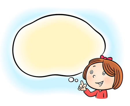 cartoon bubble: cheerful little girl pointing on white blank speech bubble cloud - isolated on white background Illustration