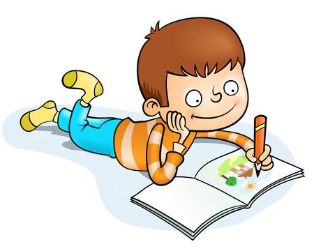 happy little boy painting
