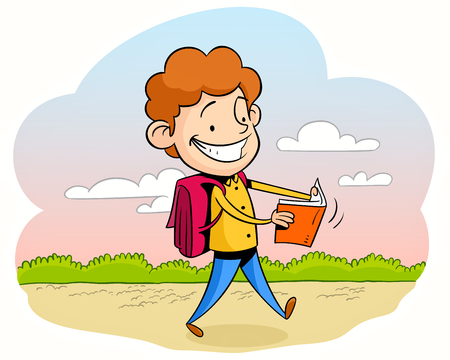 student book: Happy young student schoolboy walking and reading a book going to school