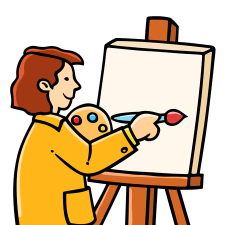 painter cartoon: Happy young boy painter painting on canvas