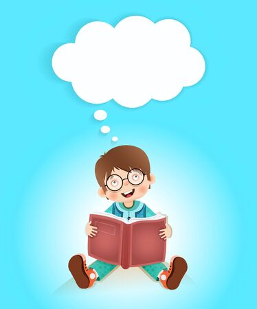 student book: happy child reading a book with a think bubble vector cartoon