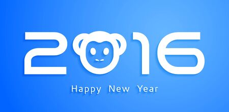chinese zodiac sign: Happy New Year 2016 vector background and banner with monkey Year of monkey Illustration