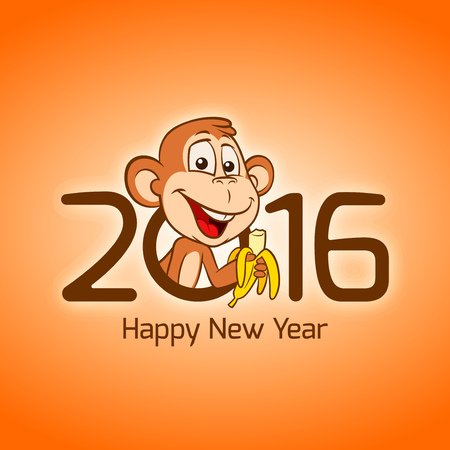 new years: Happy New Year 2016. year of monkey Chinese zodiac Illustration