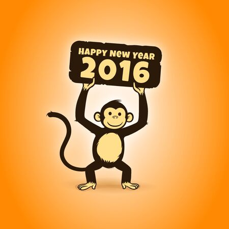 new year card: Happy New Year 2016 monkey