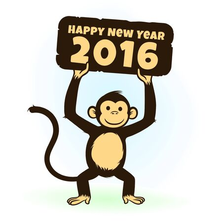 hapy: Happy monkey holding a Happy New Year 2016 greeting card. Chinese New Year 2016 will be the year of the Monkey.