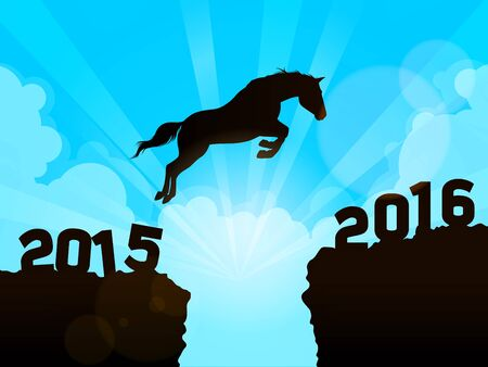 year of horse: Horse jumping to New Year 2016 Illustration