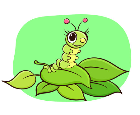 silkworm: Happy cartoon silkworm crawling on fresh leafs