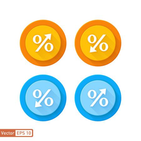 increases: Decreasing percentage and increase percentage symbol icon