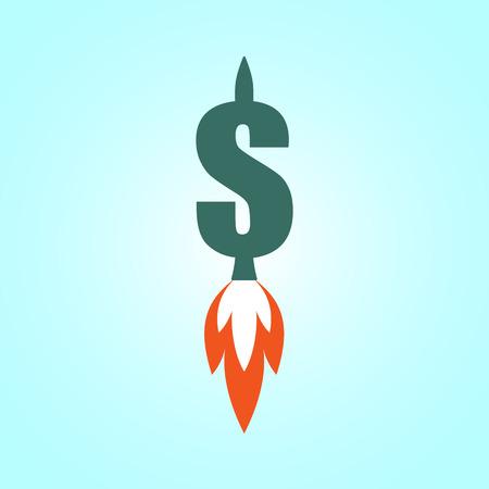 skyrocket: Jet dollar. Suitable for Dollar exchange rate increasment, profit and revenue growth etc. Illustration