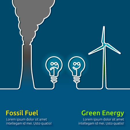 turbina: La energía verde VS combustibles fósiles contaminantes Vectores