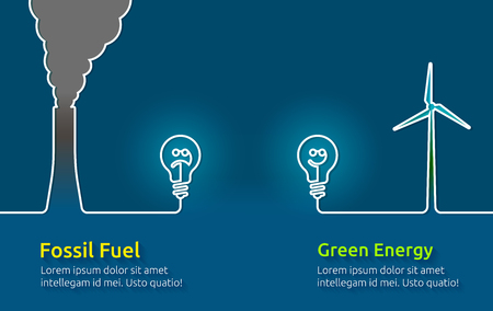 climate: Green energy VS polluting fossil fuels