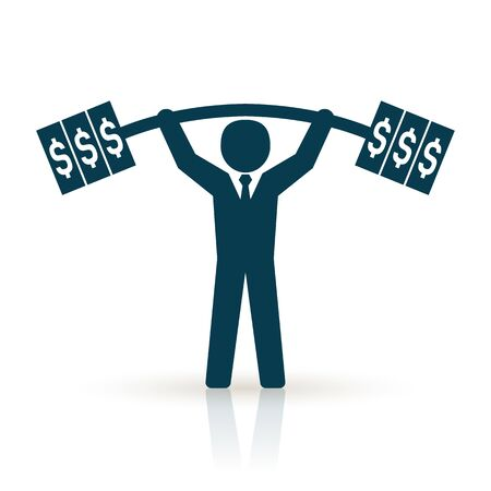 burdened: businessman lifting dollar weight successfully. successful businessman concept