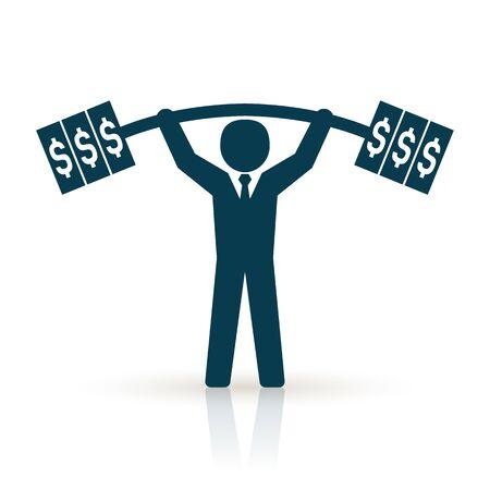 successfully: businessman lifting dollar weight successfully. successful businessman concept
