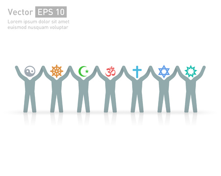 People of different religions and creed. Islam (Muslim), Judaism (Jew), Buddhism (???Buddhist ), Christianity, Hinduism (Hindu), Bahia(?Bahaee), taoism (Taoist). Religion vector symbols and characters. friendship and peace for different creeds 向量圖像