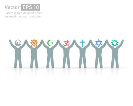 Persone di diverse religioni e credo. Islam (musulmani), l'ebraismo (Ebreo), il buddismo (??? buddista), Cristianesimo, Induismo (Hindu), Bahia (? Bahaee), Taoismo (taoista). La religione simboli vettoriali e caratteri. amicizia e di pace per le diverse fedi