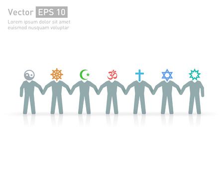Las personas de diferentes religiones y credos. Islam (musulmanes), el judaísmo (Judio), budismo (??? budista), el cristianismo, el hinduismo (hindú), Bahía (? Bahaee), el taoísmo (taoísta). Símbolos de la religión del vector y personajes. la amistad y la paz de diferentes credos Ilustración de vector