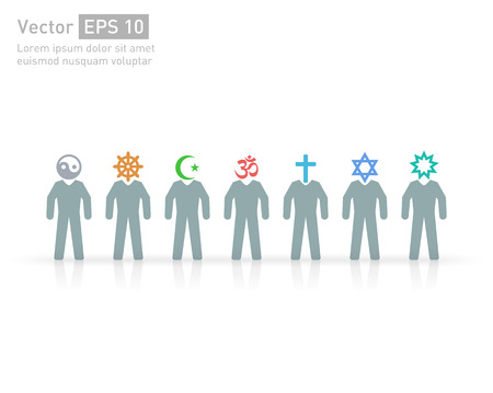 People of different religions and creed. Islam (Muslim), Judaism (Jew), Buddhism (???Buddhist ), Christianity, Hinduism (Hindu), Bahia(?Bahaee), taoism (Taoist). Religion vector symbols and characters. friendship and peace for different creeds Illustration