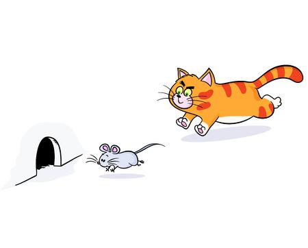 Gember kat achter een muis. kat nastreven muis en muis ontsnapt uit kat