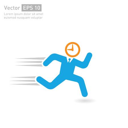 punctual: El tiempo se va rápido. ilustraciones de vectores de los conceptos de ocupados, corriendo fuera de tiempo