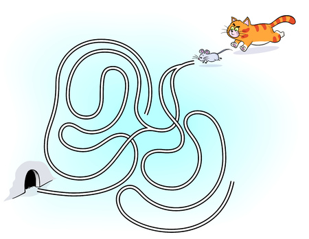 maze game: Maze game for kids. Ginger cat chasing little mouse. maze game for children