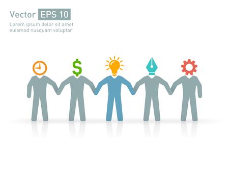 manager team: Professionals in expert team. designer, engineer, manager, sponsor, and a creative leader