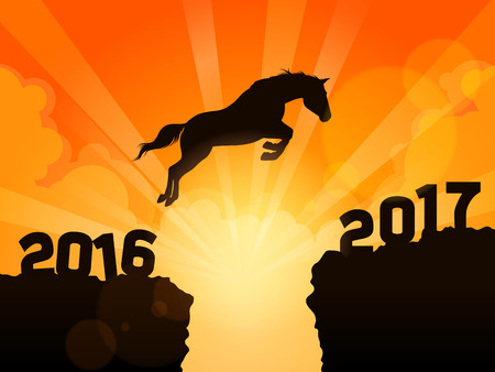 Jump to New Year 2017. a horse jumping from year 2016 to year 2017. Happy New Year 2017
