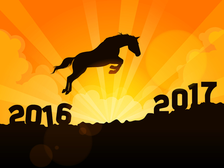 a horse successfully moving from year 2016 to New Year 2017