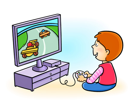 Happy little kid playing video game Vectores