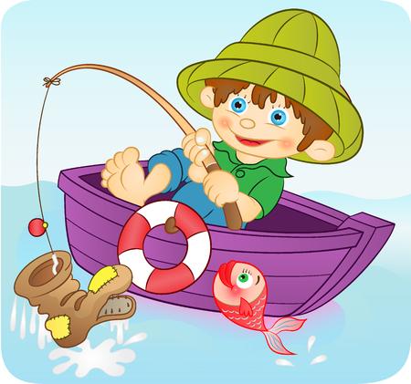 happy boy fishing Illustration