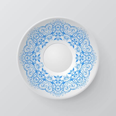 plate: Decorative plate with round ornament in ethnic style. Mandala circular abstract floral pattern. Fashion background with ornate dish. Vector illustration