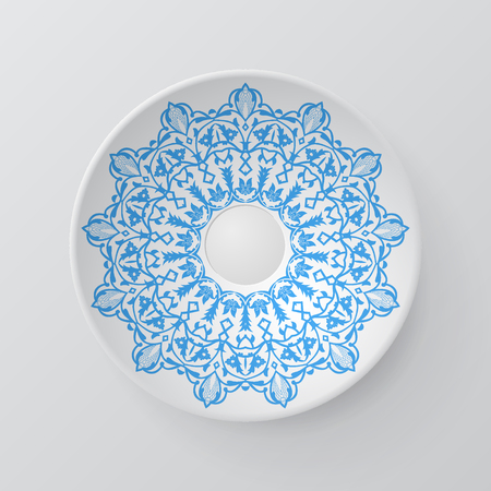plate: Decorative plate with round ornament in ethnic style. Mandala circular abstract floral lace pattern. Fashion background with ornate dish. Interior decor, vector illustration