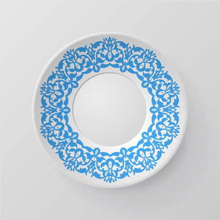 lace pattern: Decorative plate with round ornament in ethnic style. Mandala circular abstract floral lace pattern. Fashion background with ornate dish. Interior decor, vector illustration