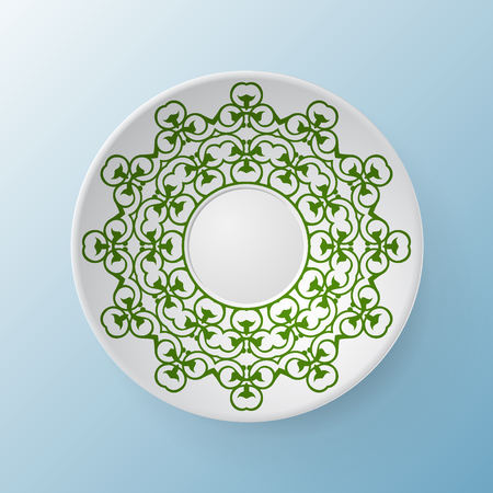 artwork: Decorative plate with round ornament in ethnic style