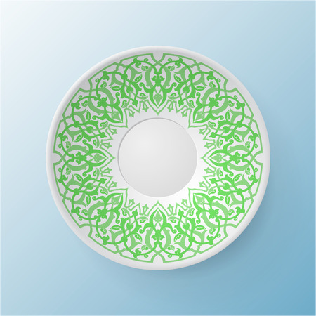 Decorative plate with round ornament in ethnic style