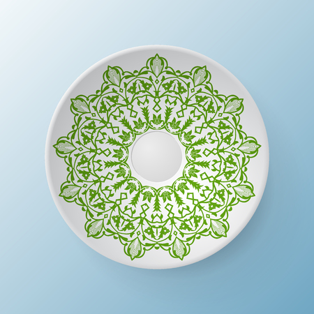 mosaic: Decorative plate with round ornament in ethnic style
