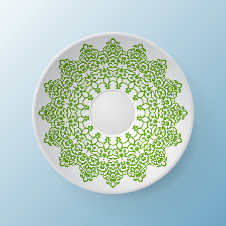 Decorative plate with round ornament in ethnic style. Mandala circular abstract floral lace pattern. Fashion background with ornate dish. Interior decor, vector illustration