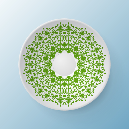 abstract flowers: Decorative plate with round ornament in ethnic style. Mandala circular abstract floral lace pattern. Fashion background with ornate dish. Interior decor, vector illustration