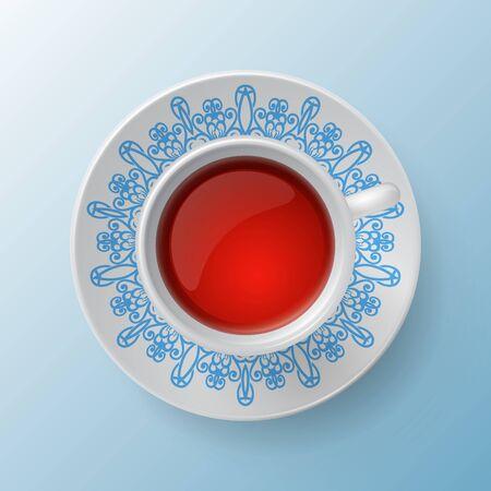 bezel: cup of tea decorative design
