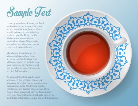 plate: Ccup of tea , decorative design