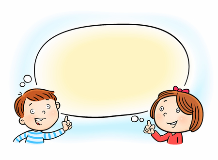 cheerful little girl and boy pointing on white blank speech thought bubble cloud