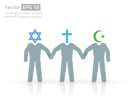 cross: People of different religions. Islam (Muslim), Christianity (Christian) and Judaism (Jewish ) Illustration