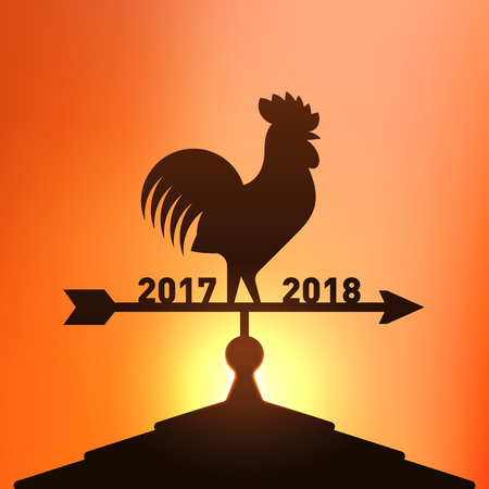 Rooster wind vane for new year concept banner illustration.