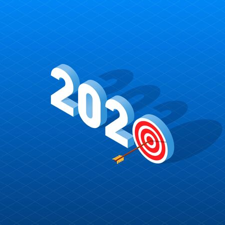 New Year Goals 2020. Vector illustration of a 3D isometric image indicates New Year Goals. 2020 New Year resolution concept illustration with arrow pinned at center of target.