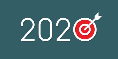 New Year Goals 2020. Vector illustration indicates New Year Goals. 2020 New Year resolution concept illustration with arrow pinned at center of target.