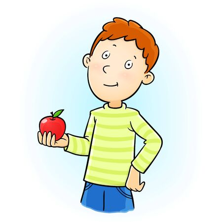 Young boy holding a red apple relaxed thinking about something looking at camera. vector cartoon clipart of a thinking teenager boy.