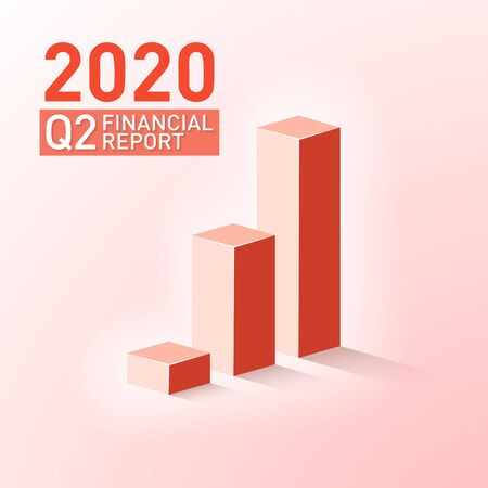 Quarterly report graph for second financial quarter of fiscal year 2020. Analysis of financial growth graph and chart concept. Income, revenue, profit and investment growth concept. 向量圖像